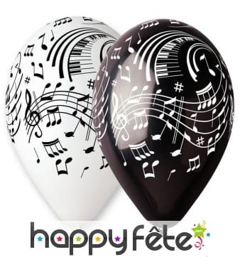 Ballons motifs notes de musiques