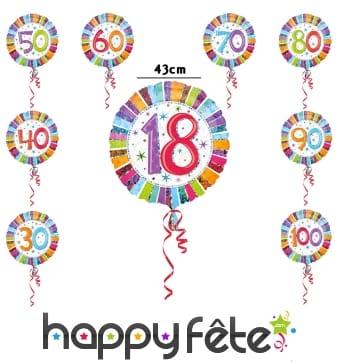 Ballon nombre anniversaire coloré de 43cm