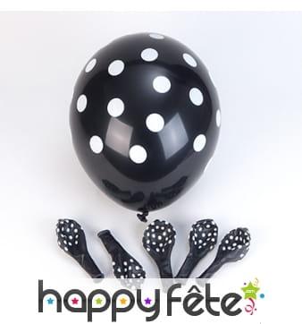 Ballons noirs à pois blancs