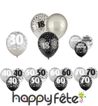Ballons nombre anniversaire noir gris blanc