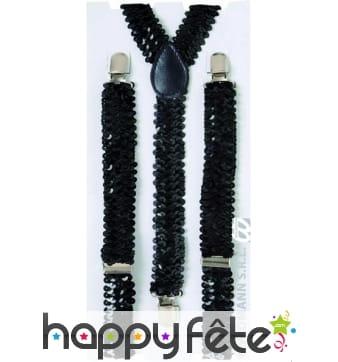 Bretelles noires avec paillettes