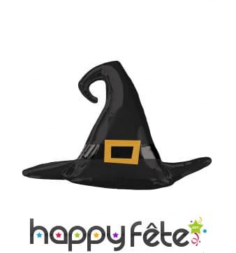 Ballon noir chapeau pointu de sorcière, 99 x 68 cm