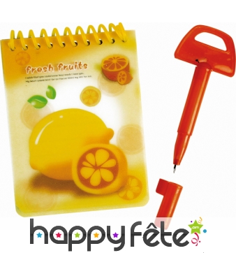 Bloc notes fruits avec stylo
