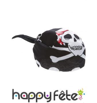 Bandana noir imprimé crâne de pirate