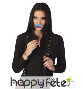 Bretelles noires imprimé moustaches colorées