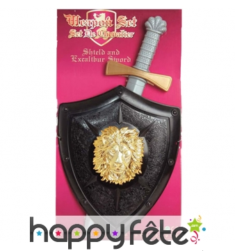 Bouclier noir médiéval avec épée pour enfant