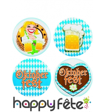 Badges Oktoberfest ronds, par 4