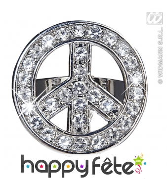 Bague peace and love strass argenté