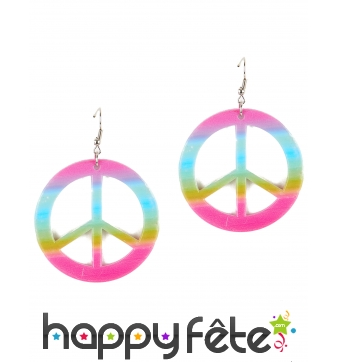 Boucles peace and love dégradé de couleurs