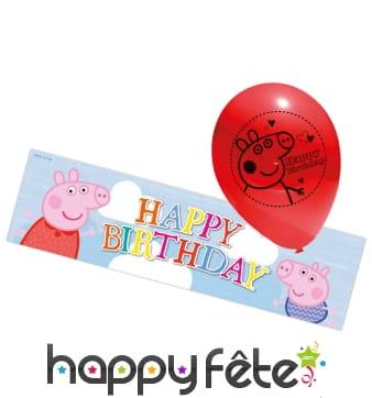 Bannière Peppa Pig d'anniversaire et ballons