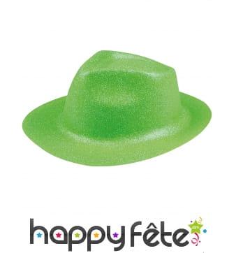 Borsalino pailleté vert fluo pour adulte