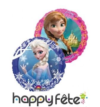 Ballon Reine des Neiges Anna et Elsa rond 23cm