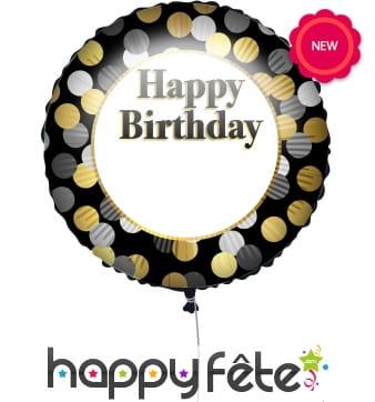 Ballon rond d'anniversaire personnalisable, 43cm