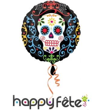 Ballon rond Dia de los Muertos coloré 43 cm