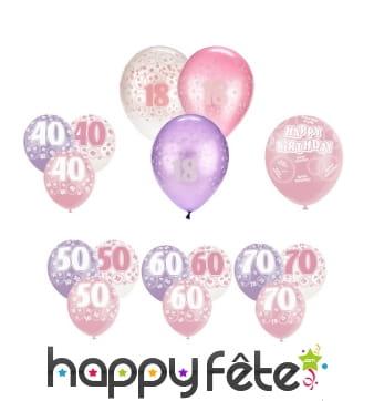 Ballons roses d'anniversaire avec âge imprimé