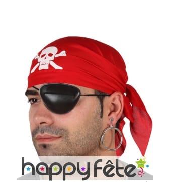 Bandana rouge et cache oeil de pirate
