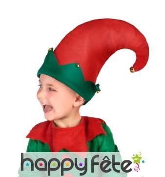 Bonnet rouge et vert de lutin avec grelots, enfant