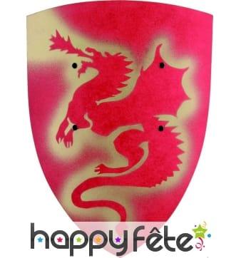 Bouclier rouge en bois motif dragon, artisanal
