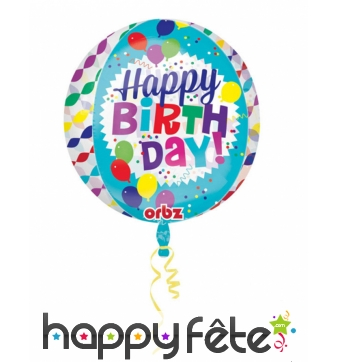 Ballon rond Happy Birthday coloré transparent