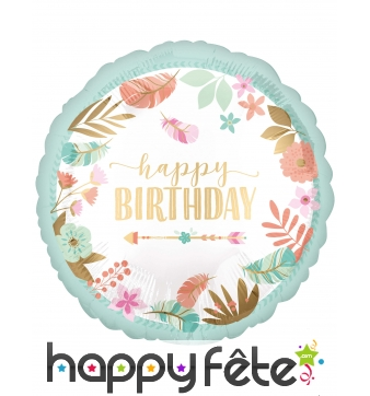 Ballon rond happy birthday flèche indien de 43 cm