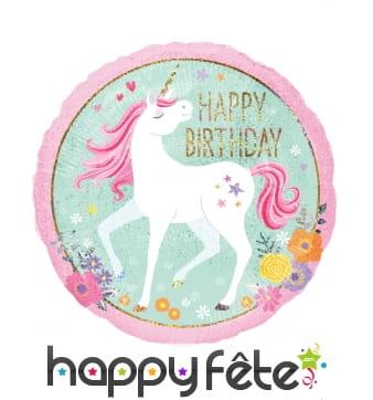Ballon rond licorne Happy Birthday de 45 cm