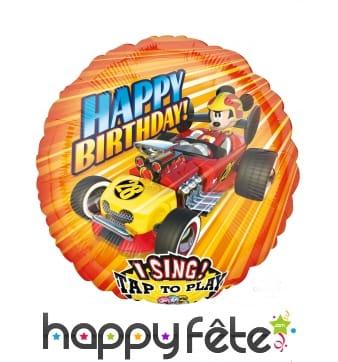 Ballon rond musical happy birthday Mickey, 71 cm