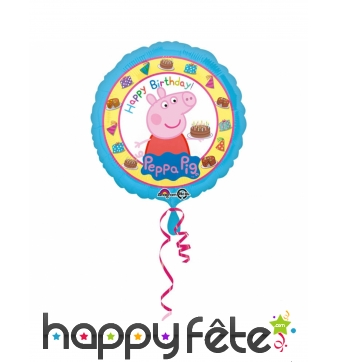 Ballon rond Peppa Pig d'anniversaire, 43cm