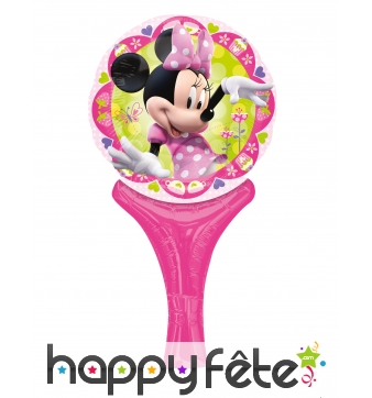 Ballon raquette rose de Minnie Mouse, 15 x 30 cm