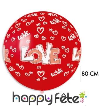 Ballon rond rouge imprimé coeurs love, 80cm