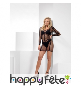Body robe squelette transparent en résilles
