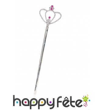 Baguette sceptre de princesse argenté, 38cm