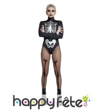 Body squelette noir et blanc manches longues