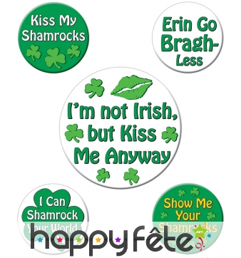 Badges Saint-Patrick humoristiques