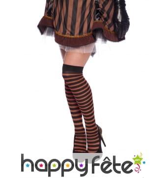 Bas Steampunk pirate ou gothique ligné noir