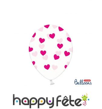 Ballons St Valentin transparents imprimés coeurs