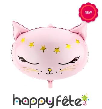 Ballon tête de chat rose de 48cm