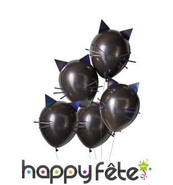 Ballons tête de chat noirs, 30cm