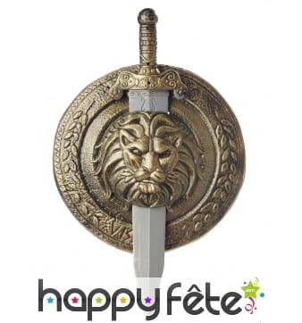 Bouclier tête de lion avec épée