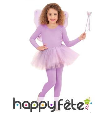 Baguette, tutu et ailes de petite fée violette