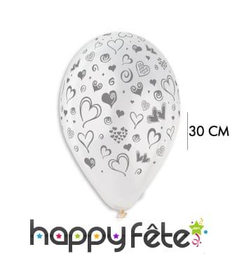 Ballons transparents imprimés petits coeurs 30cm