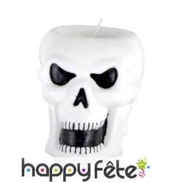 Bougie tête squelette blanche