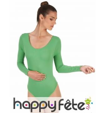 Body vert à manches longues, pour femme