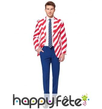 Costume 3 pièces aux couleurs de l'Amérique