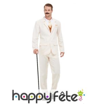 Costume 3 pièces blanc pour homme