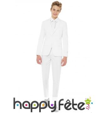 Costume 3 pièces blanc uni pour ado