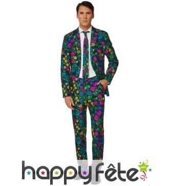 Costume 3 pièces bleu motif floral pour homme