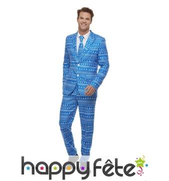 Costume 3 pièces bleu motif papier cadeau