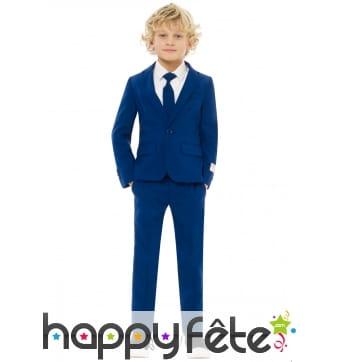 Costume 3 pièces bleu uni pour enfant