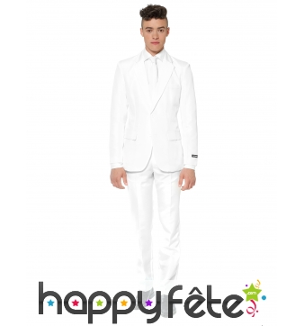 Costume 3 pièces classique blanc pour homme