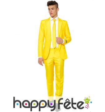 Costume 3 pièces classique jaune pour homme
